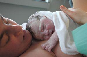 Piel con piel nada más nacer. Foto de  Tom Adriaenssen  (Wikimedia)